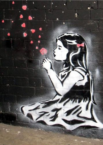 BANKSY - Girl blows hearts canvas print - self adhesive poster - photo print